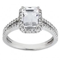 Elegant Pave Emerald Cut Diamond Ring in 14K Yellow Gold