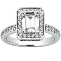 Elegant Pave Style Emerald Cut  Engagement Ring in 14K Yellow Gold