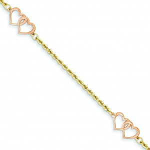 Double Heart Bracelet in 14k Yellow Gold