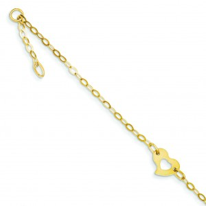 Heart Anklet in 14k Yellow Gold