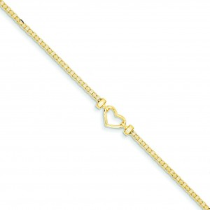 Open Heart Anklet in 14k Yellow Gold