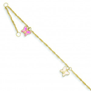 Adjustable Butterfly Anklet in 14k Yellow Gold