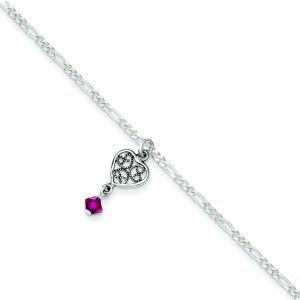 Crystals Dangling Hearts Anklet in Sterling Silver