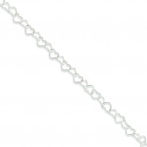 Fancy Heart Link Anklet in Sterling Silver