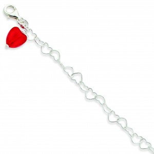 Red Crystal Heart Link Anklet in Sterling Silver
