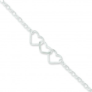 Rolo Chain Hearts Anklet in Sterling Silver