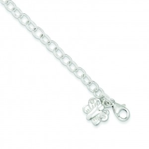 Rolo Link Butterfly Anklet in Sterling Silver
