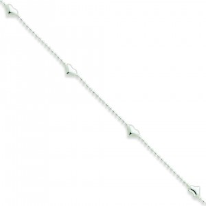 Dangling Heart Anklet in Sterling Silver