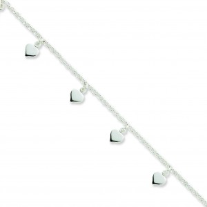 Hearts Beaded Anklet in Sterling Silver