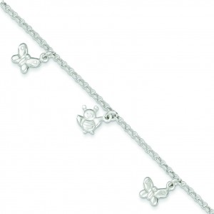 Butterflies Bumble Bee Anklet in Sterling Silver