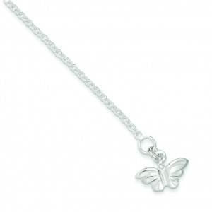Butterfly Anklet in Sterling Silver