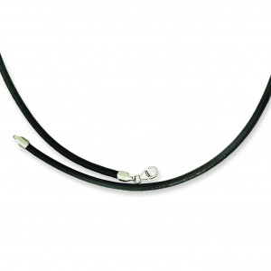 Leather Greece Textured Necklace in Stainless Steel