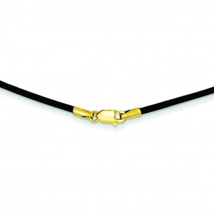 1.5mm 16 inch Black Leather Cord in 14k Yellow Gold