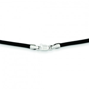 2mm 16 inch Black Leather Cord in 14k White Gold