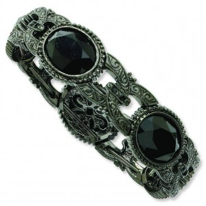 Black-Plated Jet Bead Oval Stretch Bracelet in Fashion