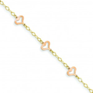 Child Heart Bracelet in 14k Two-tone Gold