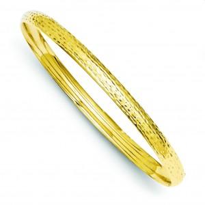 Fancy Hinged Bangle Bracelet in 14k Yellow Gold