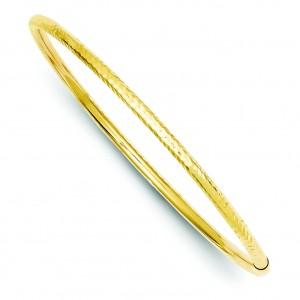 Diamond Cut Tube Bangle in 14k Yellow Gold