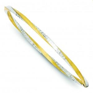 Diamond Cut Twist Slip On Bangle in 14k Yellow Gold