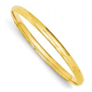 Oversize High Hinged Bangle Bracelet in 14k Yellow Gold