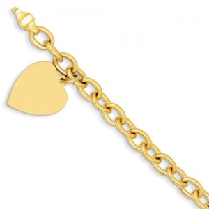 Link Heart Charm Bracelet in 14k Yellow Gold