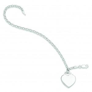 Heart Charm Bracelet in Sterling Silver