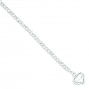 Puffed Heart Charm Bracelet in Sterling Silver
