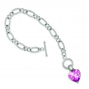 Pink CZ Heart Bracelet in Sterling Silver