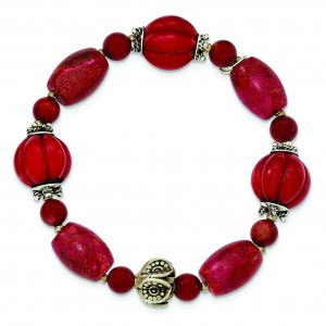 Antiqued Beads Red Coral Stretch Bracelet in Sterling Silver