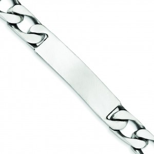 Engravable Antiqued Figaro Link ID Bracelet in Sterling Silver