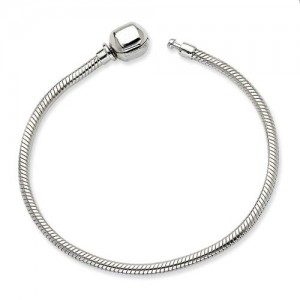 Hinged Clasp Bead Bracelet in Sterling Silver