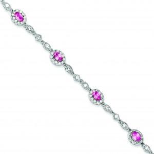 Pink Clear CZ Bracelet in Sterling Silver
