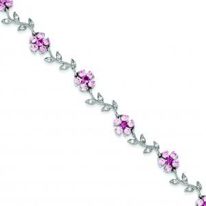 7.75inch CZ Flower Bracelet in Sterling Silver