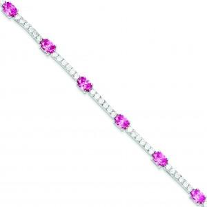 7inch Pink Clear CZ Bracelet in Sterling Silver