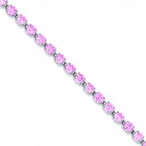 7.25inch Pink CZ Bracelet in Sterling Silver
