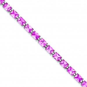 7.5inch Pink CZ Bracelet in Sterling Silver