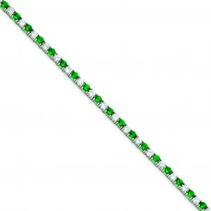 7inch Green White CZ Bracelet in Sterling Silver