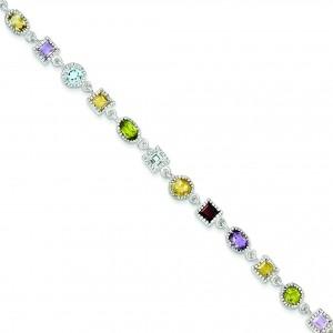 7inch Rainbow Bracelet in Sterling Silver