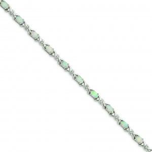 7inch Opal CZ Bracelet in Sterling Silver