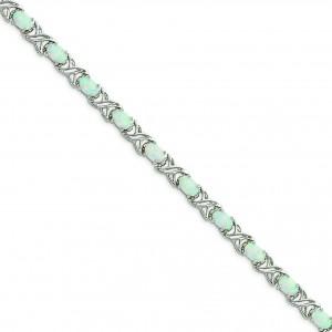 7inch Opal XO Bracelet in Sterling Silver