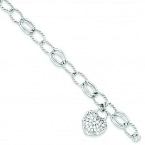 CZ Heart Dangle Bracelet in Sterling Silver