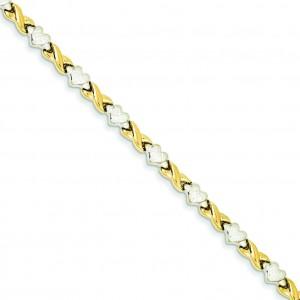 Rhodium Heart X Bracelet in 14k Yellow Gold