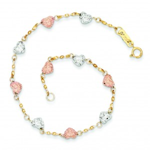 Puff Heart Bracelet in 14k Tri-color Gold