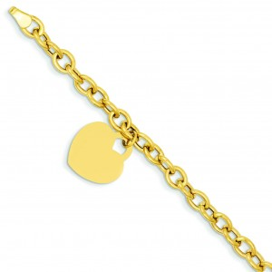Heart Charm Bracelet in 14k Yellow Gold