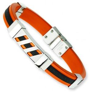 Black Orange Rubber Bracelet in Stainless Steel