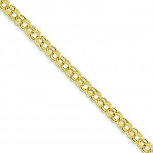 Lite 5mm Double Link Charm Bracelet in 14k Yellow Gold