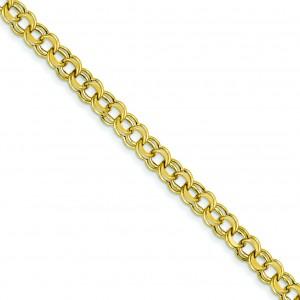Lite 5.5mm Double Link Charm Bracelet in 14k Yellow Gold