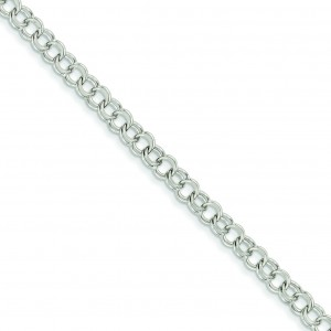 Double Link Charm Bracelet in 14k White Gold