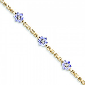 Completed Fancy Floral DiamondTanzanite Bracelet in 14k Yellow Gold