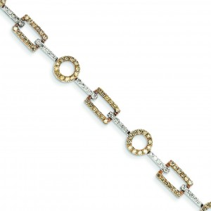 White Champagne Diamond Bracelet in 14k Yellow Gold